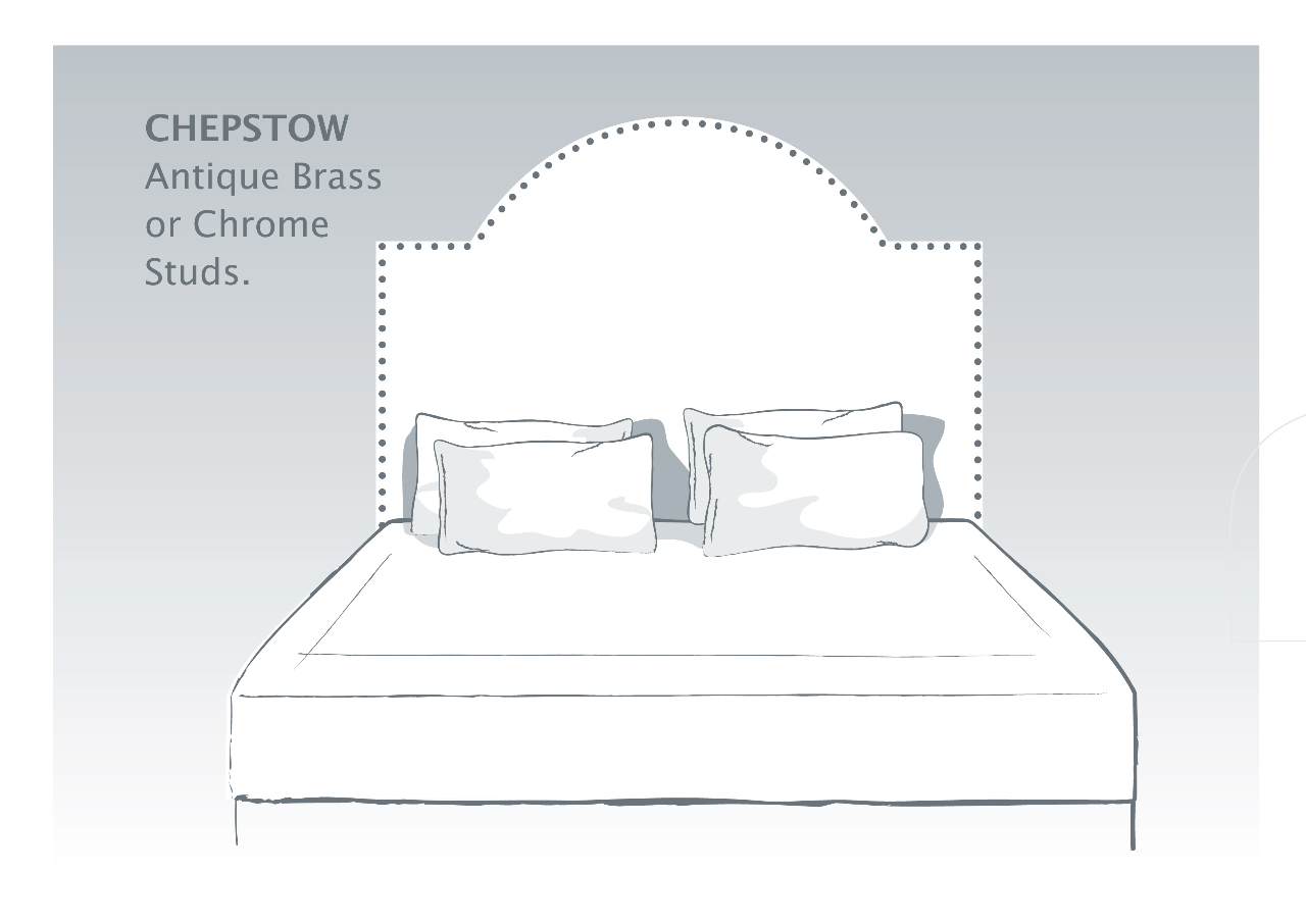 Chepstow Bespoke Headboard with Antique Brass or Chrome Studs