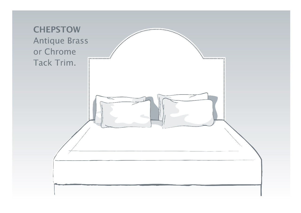 Cheptow Bespoke Headboard with Antique Brass or Chrome Tack Trim