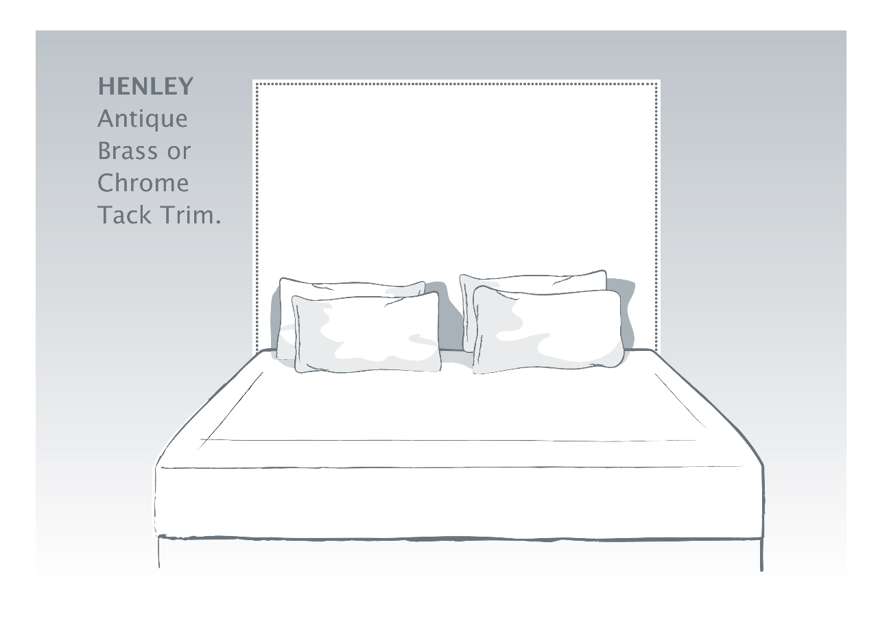 Henley Bespoke Headboard with Antique Brass or Chrome Tack Trim