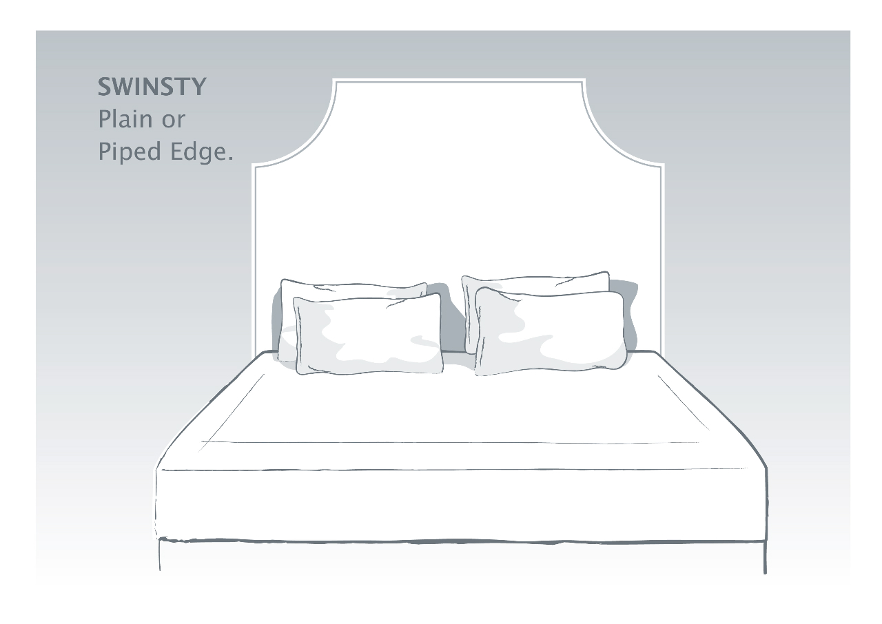 Swinsty Bespoke Headboard with Plain or Piped Edge